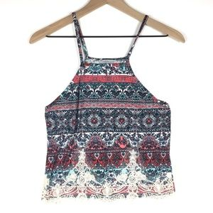 CHARLOTTE RUSSE Crop Tank Top Lace Paisley Floral